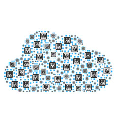 cloud figure of cpu circuit icons vector image