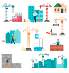 construction process of building construction vector image