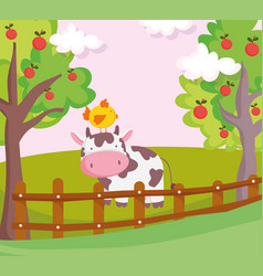 Cow with chicken in head fence and fruits trees vector