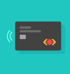 credit or debit card with chip and contactless pay vector image