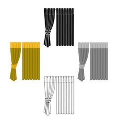 Curtains single icon in cartoonblack style vector