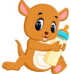 Cute baby kangaroo cartoon vector