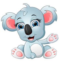 Cute koala cartoon waving hand vector