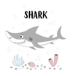 Cute shark with lettering isolated on white vector