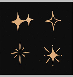 Cute sparkles gold galaxy doodle sticker vector