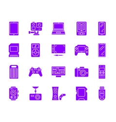 device simple purple gradient icons set vector image