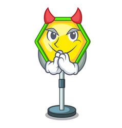 Devil road traffic sign on the cartoon vector