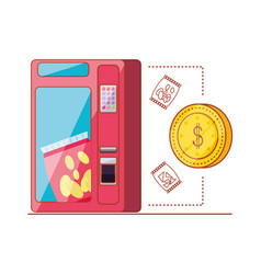 Dispenser of chips with coin dollar machine vector