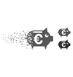 Dissolved pixel halftone euro piggy bank icon vector