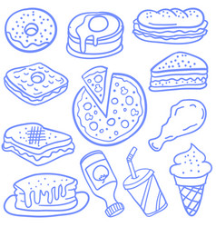 Doodle of food various and drink vector