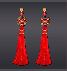 Earrings from beads red and gold with tassels vector