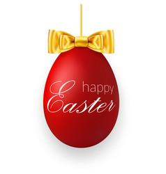 easter egg 3d icon red hanging egg white text vector image