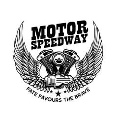emblem template with winged motorcycle motor vector image