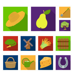 Farm and gardening flat icons in set collection vector