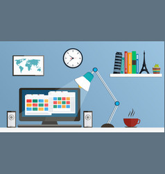 flat design desktop workspace vector image