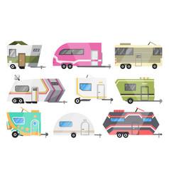 Flat set classic camper vans and vector