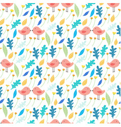 floral and bird seamless pattern background vector image