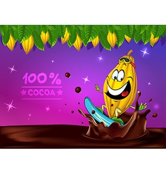 Funny chocolate design with cocoa pod leaf and vector