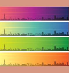 glasgow multiple color gradient skyline banner vector image