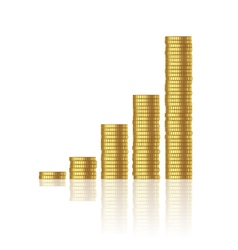 Growth gold coins vector
