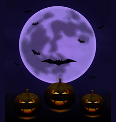 halloween background with full moon and pumpkins i vector image