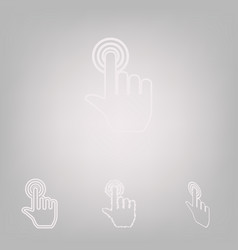 hand click on button 4 white styles of vector image
