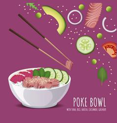 hawaiian poke tuna bowl rice radish cucumber vector image