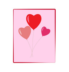 heart balloon on square colorful balloons on vector image