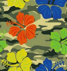 hibiscus on military background pattern vector image