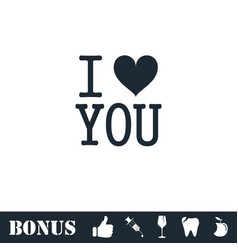 I love you icon flat vector