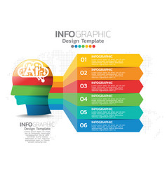 Infographic template design with 6 color options vector