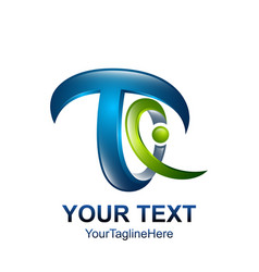 initial letter t logo template colored green blue vector image