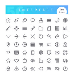 Interface line icons set vector