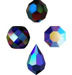 Iridescent crystal beads vector