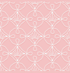 Lace seamless pattern of crochet loops openwork vector