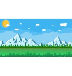 Landscape with snowy mountains and trees vector