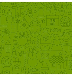 Line Art Holiday Christmas Green Seamless Pattern vector image