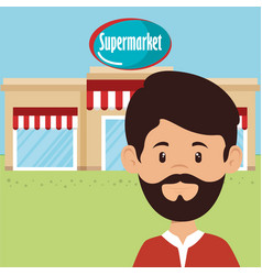man in supermarket building front scene vector image