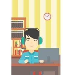 Man playing computer game vector