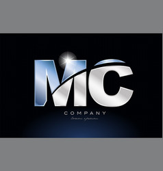 Metal blue alphabet letter mc m c logo company vector