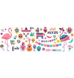 Mexican symbols icons vector