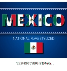 Mexico Flag Font vector image
