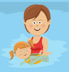 Mom teaches her daughter to swim in swimming pool vector