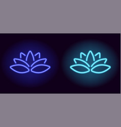neon blue and light-blue lotus vector image