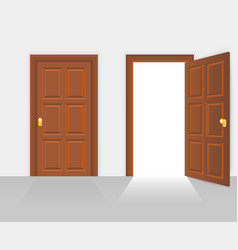 Open and closed house front door vector