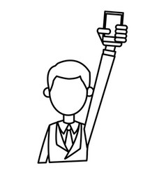 outlined guy bsiness hand holding smartphone vector image
