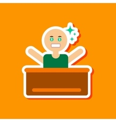 Paper sticker on stylish background poker man vector