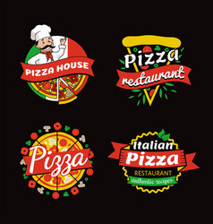 Pizza places of high quality promotional emblems vector