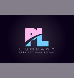 Pl alphabet letter join joined letter logo design vector
