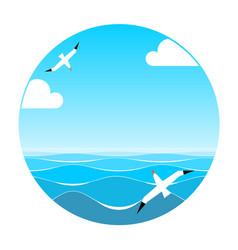 Print sea and sky vector